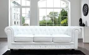 White Leather Chesterfield Sofa Living Room Furniture Button Tufted White Leather Chesterfield