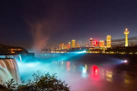niagara falls light show niagara falls light show at night usa stock image image of autumn