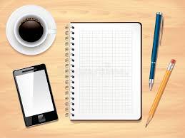 bloc notes sur la vue de bureau de bureau illustration de vecteur