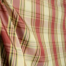 Drapery Fabrics Bora Bora Sunset Rust Red Light Green Polyester Plaid Fabric