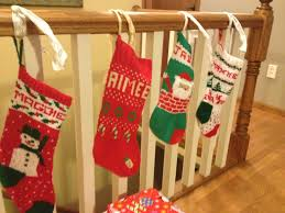 decoration stairs decor ideas with knitted christmas stockings