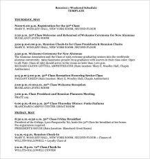 weekend schedule template u2013 8 free word excel pdf format