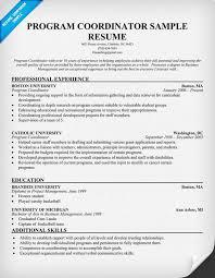 Event Coordinator Resume Template by Program Coordinator Resume Necm Magisk Co