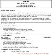 Sample Of Key Skills In Resume by Warehouse Operator Cv Example Forums Learnist Org