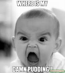 Pudding Meme - where is my damn pudding meme angry baby 12496 memeshappen