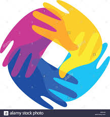 isolated abstract colorful human hands together logo kids