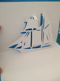 sailing ship pop up card template from cahier de kirigami 90