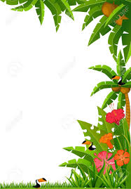 Hawaiian Flowers And Plants - background with tropical plants and parrots stock photo picture