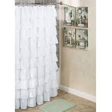 bathroom shower curtain decorating ideas white ruffled shower curtain with artwork