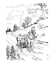 classic christmas coloring horse open sleigh