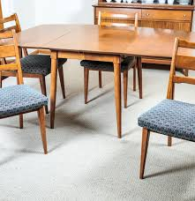 mid century modern baumritter birch dining table and chair ebth