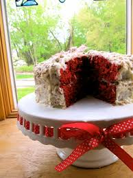 mary quite contrary bakes red velvet cake with coconut pecan icing
