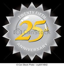 twenty fifth anniversary silver 25th anniversary seal badge a silver twenty fifth vector
