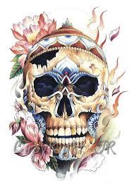 Amazing Skull - flowers with amazing tibetan flaming skull golfian com