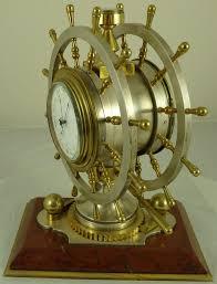 Nautical Desk Clock Antique French Gilt And Silvered Bronze Nautical Desk Clock