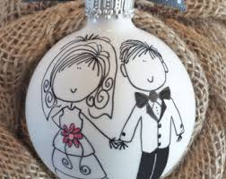 personalized wedding ornament engagement ornament painted personalized by happyyouhappyme