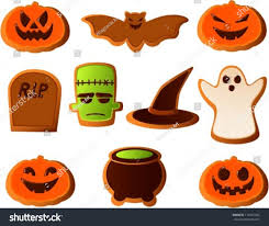 vector illustration various halloween cookies colored stock vector