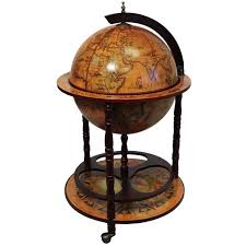 wood 16th century style globe bar with wine rack holder free
