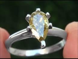 chagne diamond engagement ring chameleon color change diamond platinum engagement
