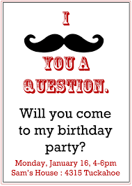 My Birthday Invitation Card Imposing Mustache Birthday Party Invitations Theruntime Com