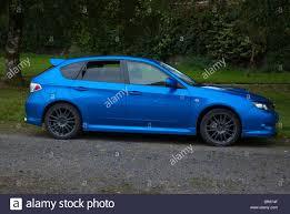 subaru metallic 2002 model metallic blue subaru impreza wrxs hatchback stock photo