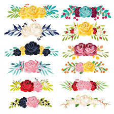coloured floral ornaments collection vector free