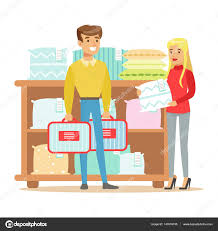 couple buying bedsheets for bedroom smiling shopper in furniture