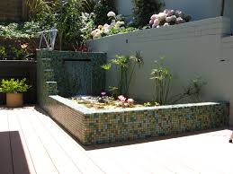 decorations cool mosaic outdoor accent wall with small garden