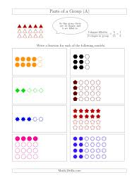parts of a group fraction models up to fifths a