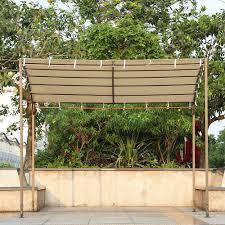 Sunshade Awning Gazebo Sand Ikayaa 3 2 5 2 5m Metal Patio Garden Gazebo Outdoor Canopy