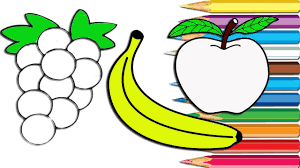 how to draw fruit apple banana grape coloring pages for kids amy