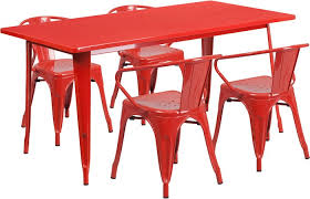 Red Metal Chair Red Metal Rectangular Table Set Restaurant Patio Tables