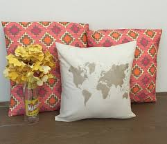 decorative throw pillows world map gold pillows decorative