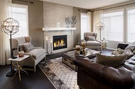 Modern Living Room Ideas With Brown Leather Sofa Fireplace Trunk Table Shades Brown And Living Rooms
