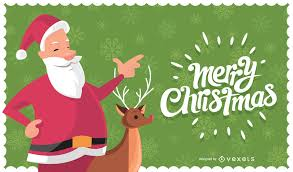 card with santa claus and reindeer vector