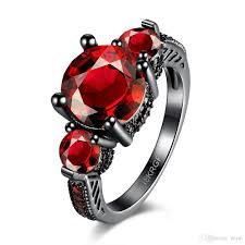 com red rings images Discount fashion flower shiny red ring red garnet women charming jpg