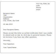 Explanation Letter Due To Negligence explanation letter for being absent at work sle effortless