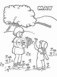 spring may coloring page for kids seasons coloring pages