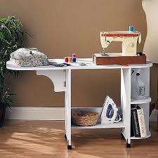 desk with shelves on side sewing mobile table w wheels white wood foldable side shelf shelves