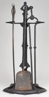 black wrought iron 4 piece fireplace set stand shovel poker