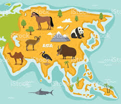 Map Asia Asian Map With Wildlife Animals Stock Vector Art 637857864 Istock