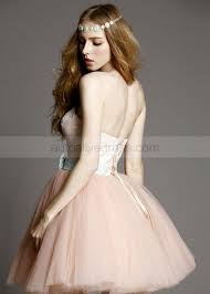 pink tulle lace sweetheart neckline short prom dress
