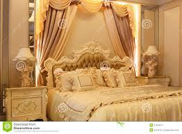 grandeur bedroom yellow golden curtain as background bed back tea