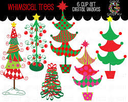 christmas tree clipart whimsical christmas digital clip art