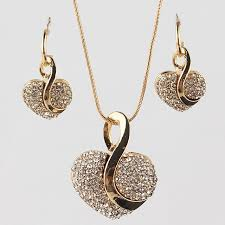 fashion jewelry necklace set images Free shipping fashion jewelry luxury gold color romantic austrian jpg