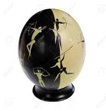 ostrich egg painted ostrich egg decorated with ancient bushman stock photo
