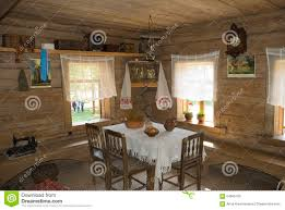 interior of an old russian country house stock illustration