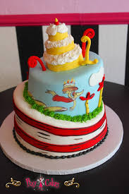 birthday baby shower cake dr suess 2 tier topsy turvey blue red
