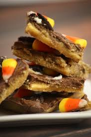 oreo and candy corn halloween saltine cracker toffee