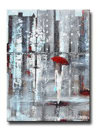 giclee print art abstract painting red umbrella city modern